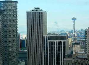 Photo: Another view of Seattle from our room at the Grand Hyatt. Our cruise ship can be seen if you look closely,