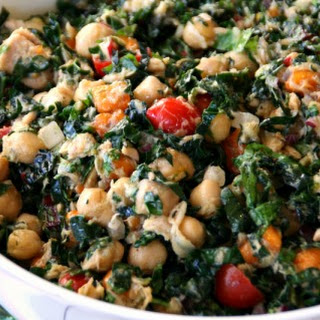 Kale-a-palooza Salad with Garbanzos, Persimmons, Tuna and Tomatoes