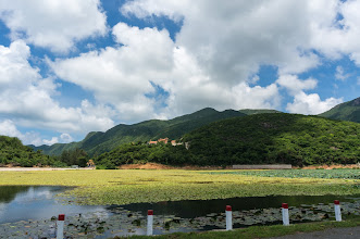 Photo: Núi Một pagoda, with its large lotus pond around the hill foot