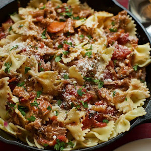 Bow Tie Pasta with Braised Pork White Wine and Bacon