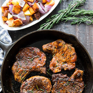 Balsamic Pork Chops with Sweet Potatoes and Apples {Paleo, Whole30} Recipe