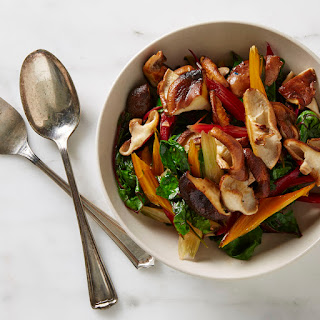 Chard and Chard Stems with Sautéed Shiitakes.