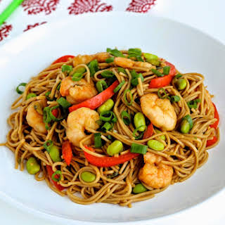 Hoisin Shrimp and Edamame Stir-Fry with Soba Noodles.