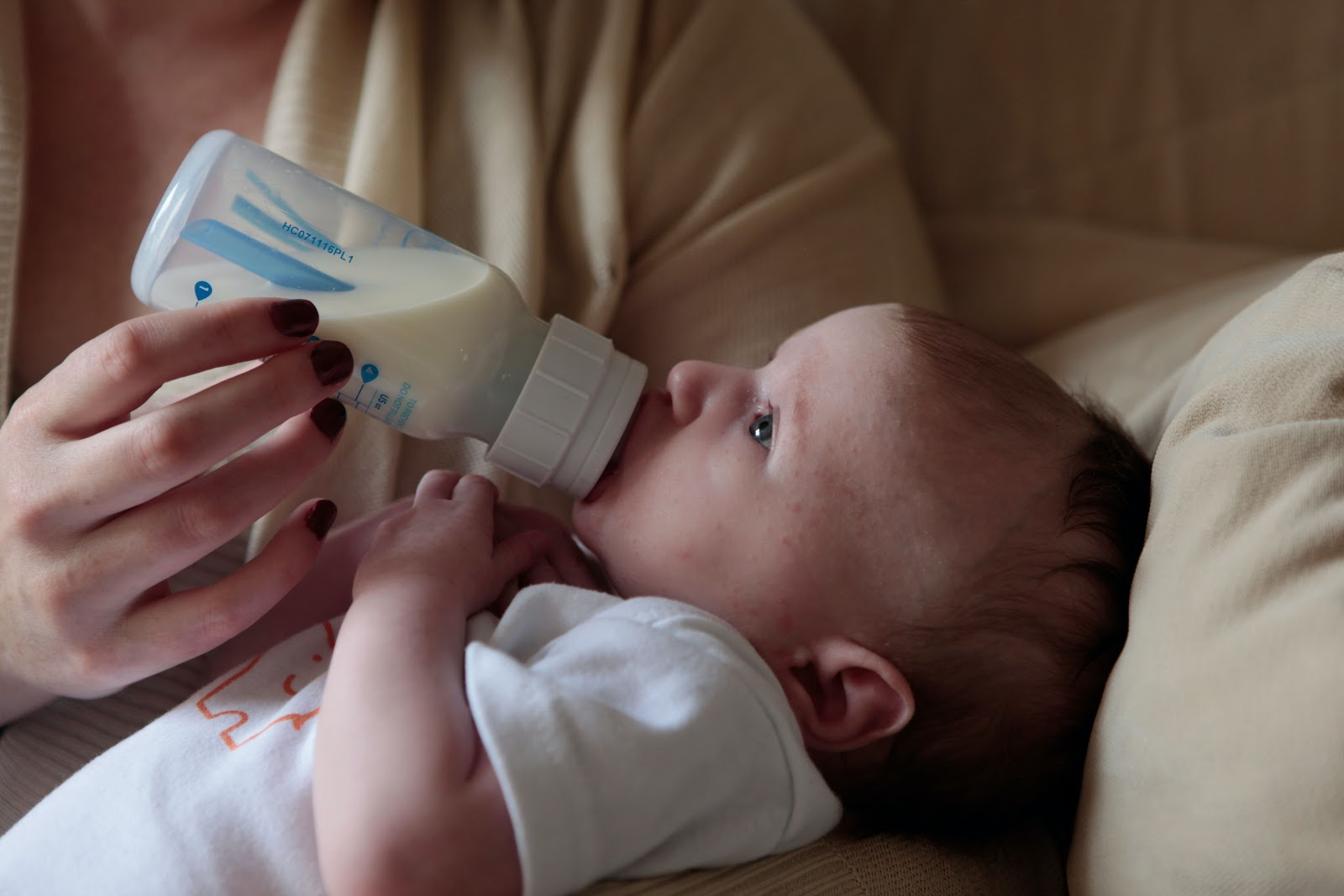 bottle feeding the baby