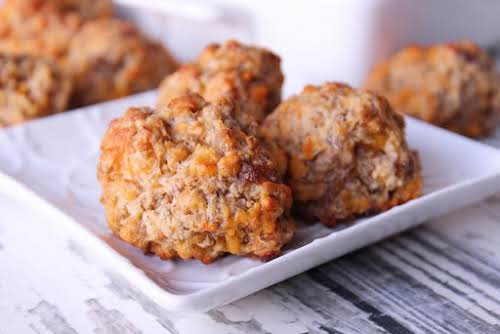 """Sausage Balls """"These are seriously good straight out of the oven or..."""