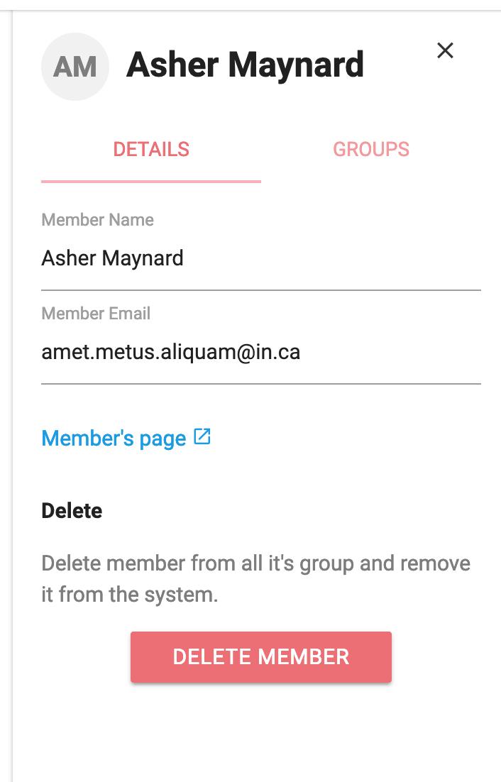 Member details panel