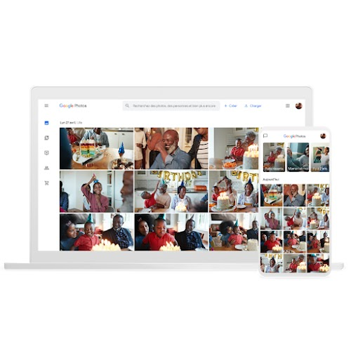 Ordinateur portable et téléphone sur lesquels GooglePhotos est affiché