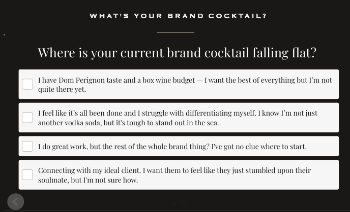 where is your current brand cocktail falling flat question