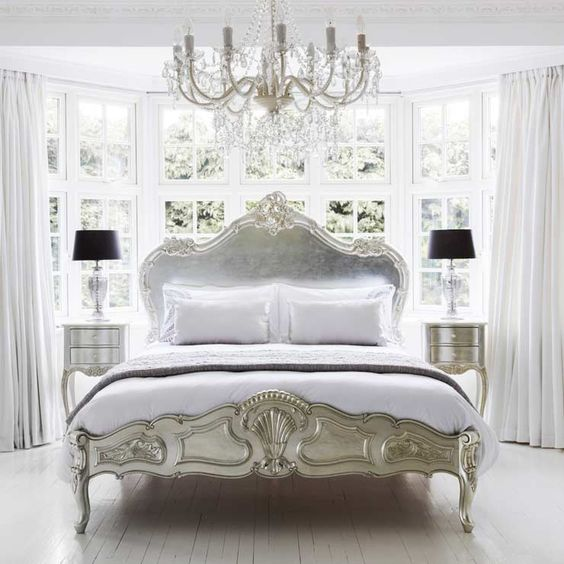 Airy and Antique Silver Bedroom Set