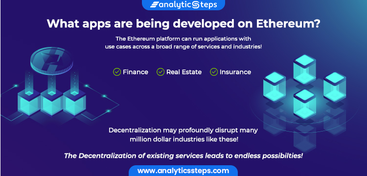 This image depicts that different applications can be developed with use cases in a broad range of services and industries ranging from Finance, Real Estate, Insurance over the Ethereum Platform.