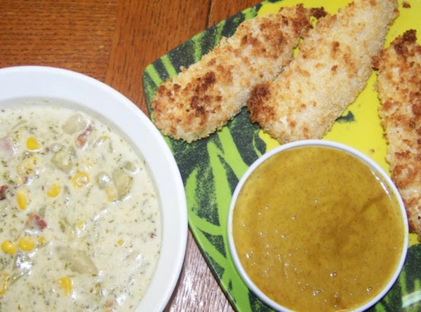 Broccoli Chowder And Panko Chicken Tenders With Honey Mustard Dipping Sauce Recipe