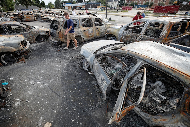 A view shows the damage at Car Source, a used car lot on Sheridan Road over a week since Black man Jacob Blake was shot by police and a day before a visit by U.S. President Donald Trump in Kenosha, Wisconsin, U.S. August 31, 2020. REUTERS/Kamil Krzaczynski