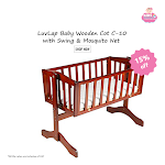LuvLap Baby Wooden Cot C-10 with Swing & Mosquito Net