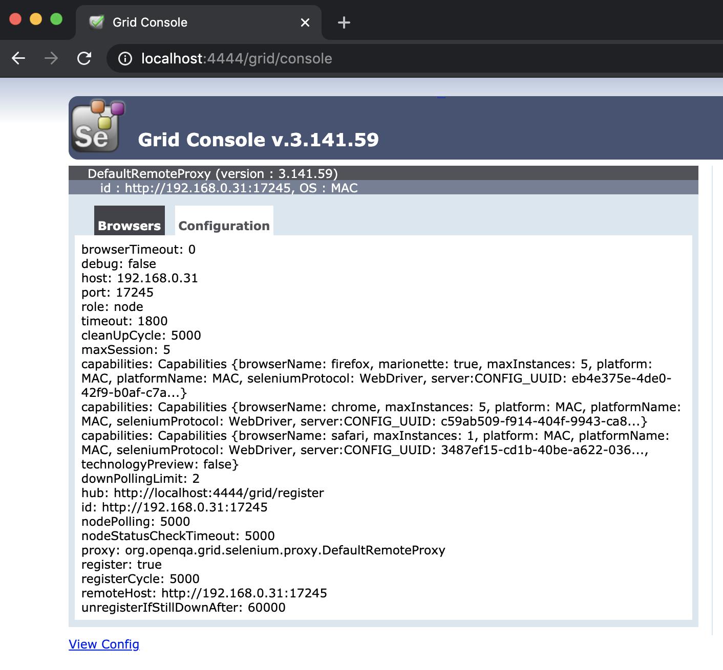 Selenium Grid Console - configuration