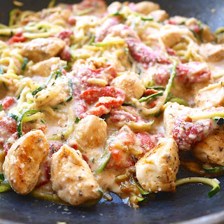 Creamy Roasted Red Pepper Sauce with Chicken and Zoodles (Paleo, GF) Recipe
