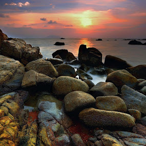 colour of stone by Dody Herawan - Landscapes Sunsets & Sunrises ( coral, sunset, stone, sunrise, beach )