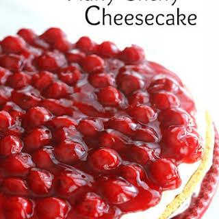 No Bake Fluffy Cherry Cheesecake.