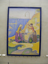 """Photo: Paul Signac's """"Women at the Well"""" from 1892. Signac was a forceful advocate for Divisionism, and the banishing of """"muddy mixtures"""" (usually the result of pre-mixing colors) in favor of the luminous intense colors blended by the viewer's eye."""