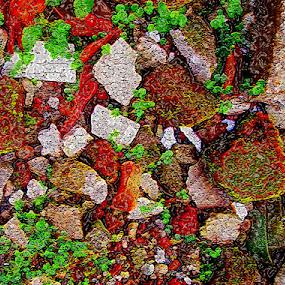 broken bricks on the side of the road by Jumari Haryadi - Abstract Patterns ( broken, pattern, stone, rock, road )