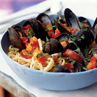 Chorizo-Mussel Noodle Bowl.