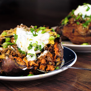Cheesy Chorizo Stuffed Sweet Potatoes