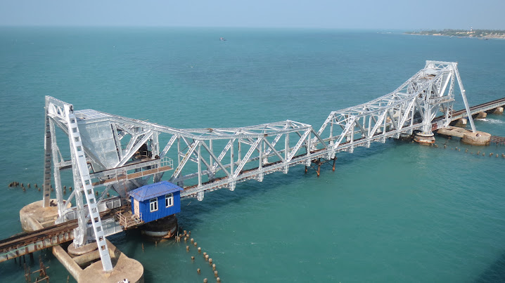Pambam Bridge & blue water