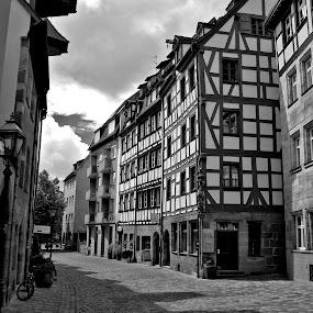 Nurnberg street by Oleksii Liebiediev - City,  Street & Park  Historic Districts ( nurnberg, bavaria, black and white, nuremberg, germany,  )