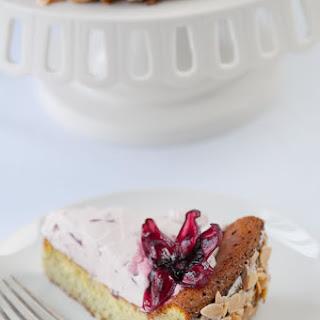 Matcha White Chocolate Cake w Hibiscus Cream (gf)