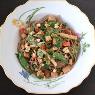 Peanut Soba Noodles with Crispy Tofu and Spring Vegetables {Recipe ReDux}.