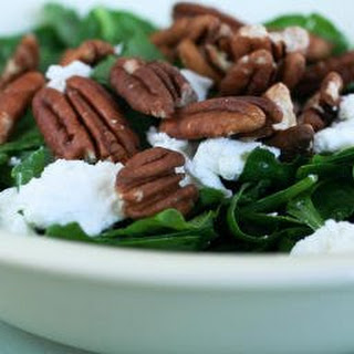 Spinach and Sorrel Chopped Salad with Pecans and Goat Cheese.