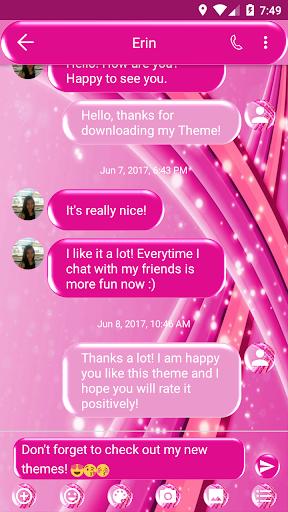 SMS Messages Sparkling Pink Theme 5.0 screenshots 2