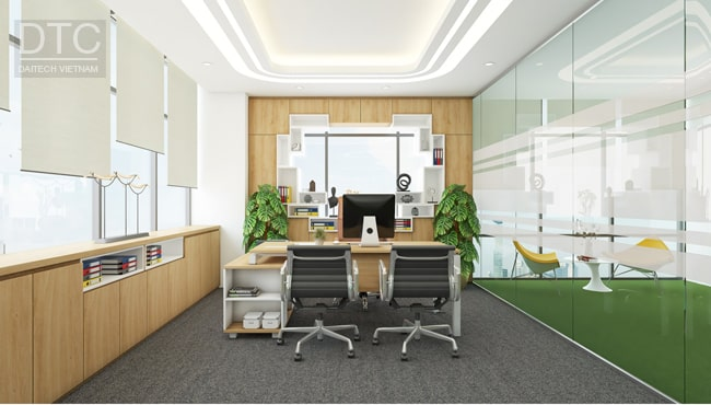 Văn phòng được bố trí hệ thống cửa kính đón nắng