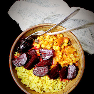 Vegan Curry Sprouts Bowl with Pickled Beets and Minty Brown Rice.