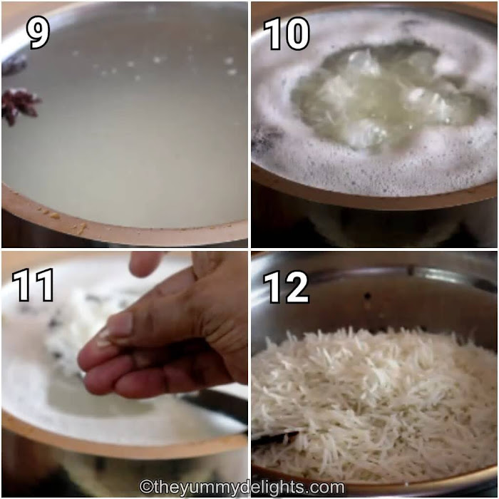 step by step image collage of cooking the rice