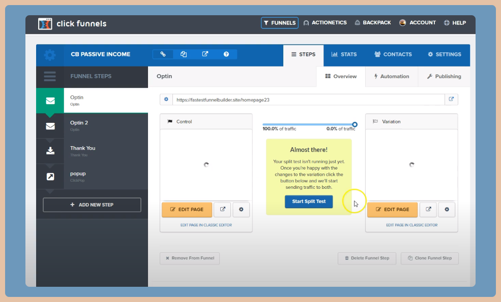 a screenshot of the split testing tool on ClickFunnels