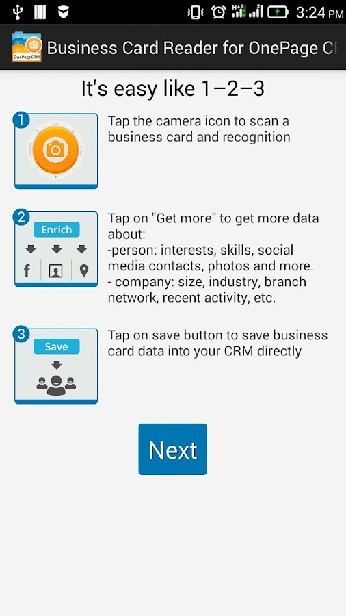 Free Business Card Reader for OnePage CRM- screenshot