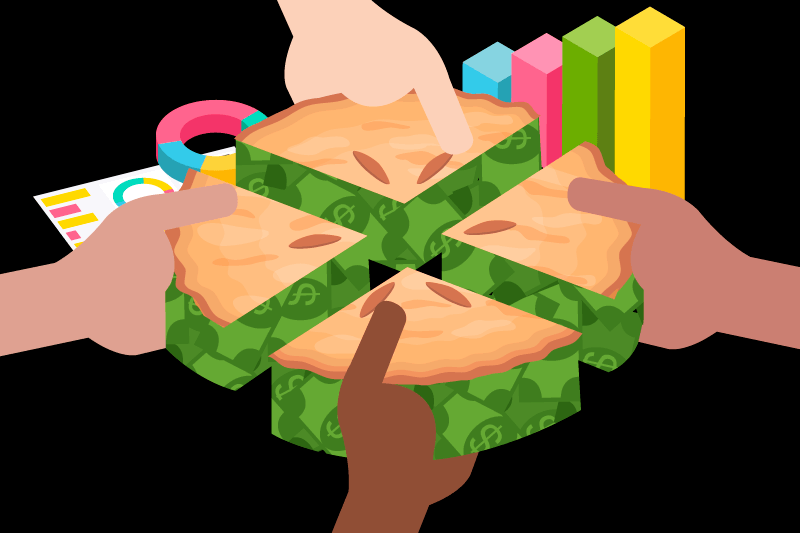 """Four hands taking slices of a """"money pie"""" representing fractional shares of a company."""