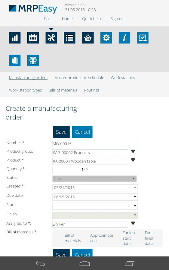 MRPEasy manufacturing software- screenshot