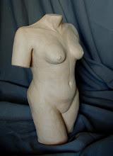 "Photo: Torso -18"" tall- hi fire ceramic clay - unglazed"