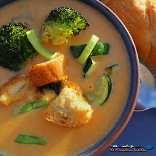 Carrot-Ginger Soup With Roasted Vegetables.