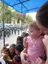 Photo: Watching the officers go by