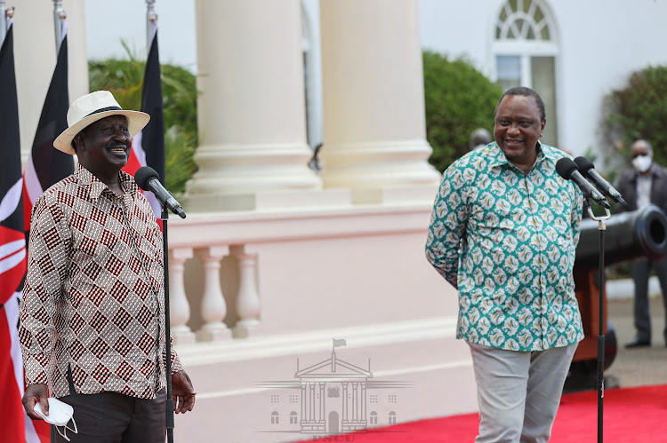ODM leader Raila Odinga and President Uhuru Kenyatta field questions from the press at State House on April 1