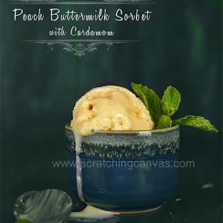 Peach Buttermilk Sorbet | No Churn Eggless Ice cream