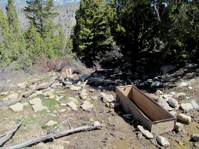 Water troughs below the spring