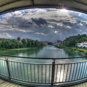 steyr by Michel Andries - City,  Street & Park  Skylines ( bridge, fish eye, austria, steyr, river )