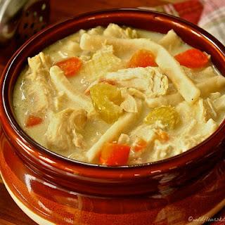 Creamy Chicken Stew with Dumpling Noodles.