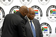 Former president Jacob Zuma prepares to testify  on his second day at the Zondo commission of inquiry into state capture in Parktown, Johannesburg,  yesterday.