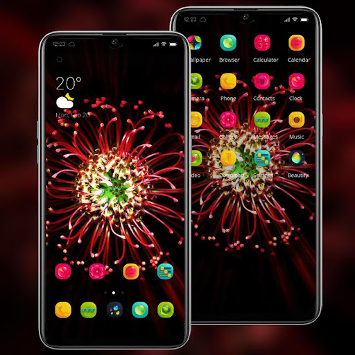 Red glowing full bloom flower theme 2.0.50 screenshots 2