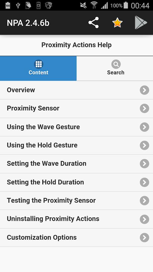 Novum Proximity Actions- screenshot