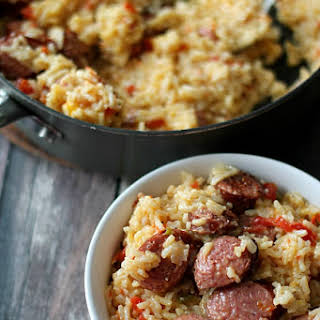 Cheesy Sausage and Rice Skillet.